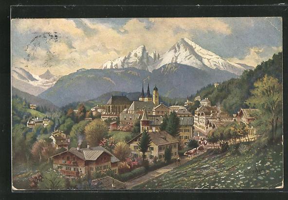 Künstler-AK Berchtesgaden, Ortsansicht mit Bergen 0