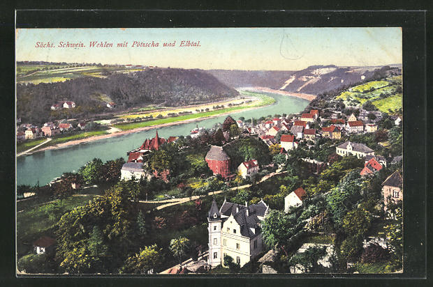 AK Wehlen / Sächs. Schweiz, Teilansicht mit Pötzscha und Elbtal 0