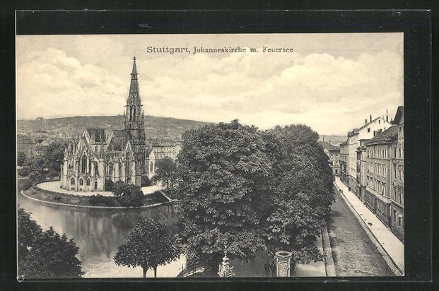 AK Stuttgart, Johanneskirche mit Feuersee 0