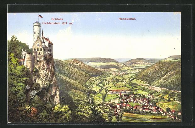 AK Honau, Ortsansicht und Schloss Lichtenstein 0