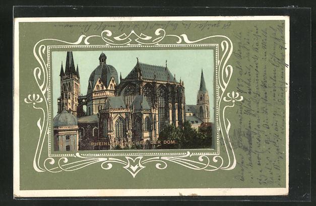 Passepartout-Präge-AK Aachen / Rheinland, Der Dom 0