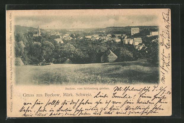 AK Buckow / Märk. Schweiz, Ortsansicht vom Schlossberg gesehen 0