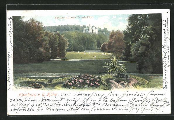 Lithographie Homburg v. d. Höhe, Schloss u. Lawn Tennis Platz 0