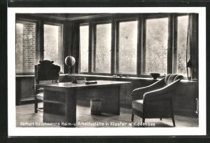 AK Kloster a / Hiddensee, Gerhart Hauptmanns Heim- u. Arbeitsstätte, Innenansicht