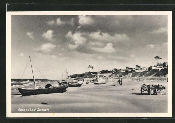 AK Zempin / Ostseebad, Strandpartie mit Booten 0