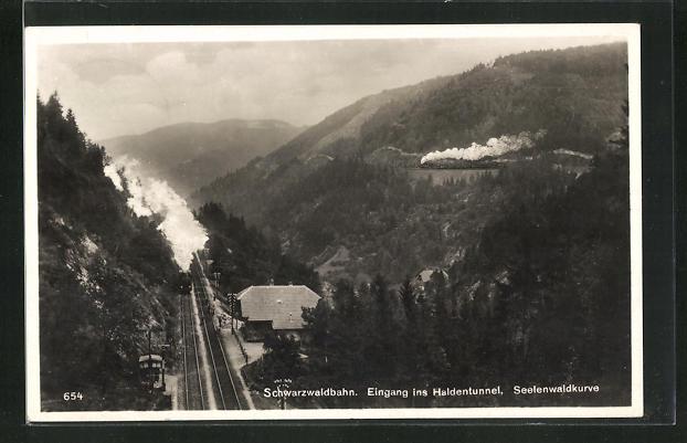 AK Triberg, Schwarzwaldbahn Eingang Haldentunnel Seelenwaldkurve 0
