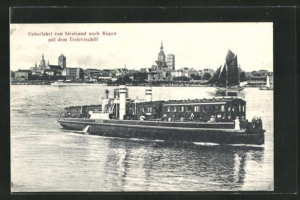 AK Rügen, Ueberfahrt von Stralsund nach Rügen mit dem Trajektschiff 0