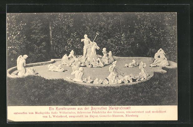 AK Nürnberg, Bayer. Gewerbe-Museum, Ein Kunstbrunnen aus der Bayreuther Markgrafenzeit 0