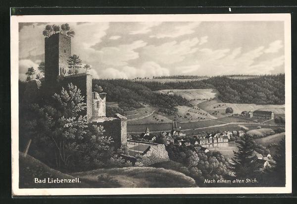 AK Bad Liebenzell, Teilansicht nach einem alten Stich 0