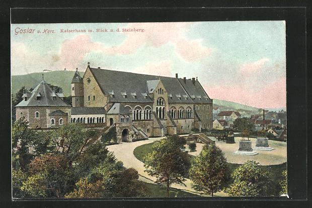 AK Goslar a. Harz, Kaiserhaus m. Blick n. d. Steinberg 0
