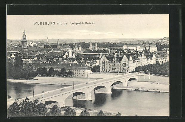 AK Würzburg, Teilansicht mit der Luitpold Brücke 0