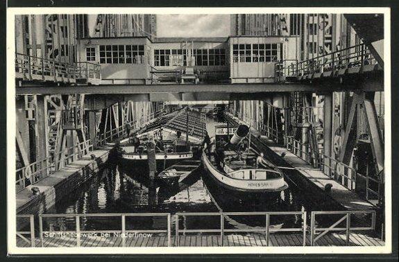 AK Niederfinow, Schiffshebewerk mit Dampfern 0