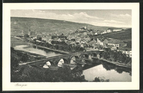 AK Bingen, Ortsansicht mit Drususbrücke 0