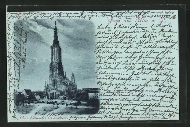Mondschein-AK Ulm a. D., Das Münster 0