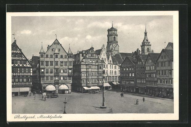 AK Stuttgart, Totale vom Marktplatz 0
