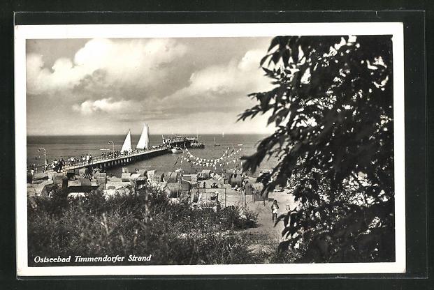AK Timmendorfer Strand, Panorama mit Seebrücke 0
