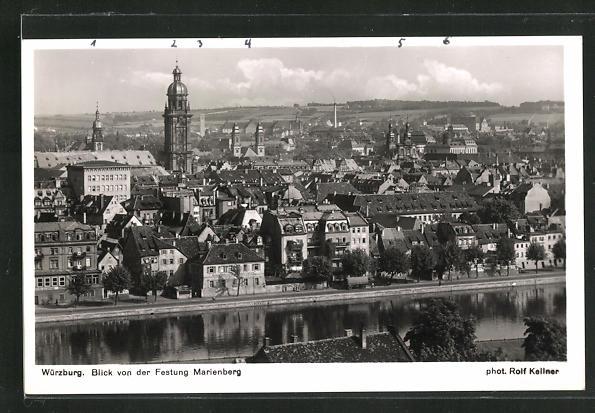 AK Würzburg, Blick von der Festung Marienberg 0