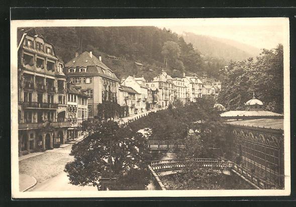 AK Bad Wildbad, Olgastrasse mit Schwimmbad 0