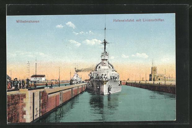AK Wilhelmshaven, Hafeneinfahrt mit Linienschiffen 0