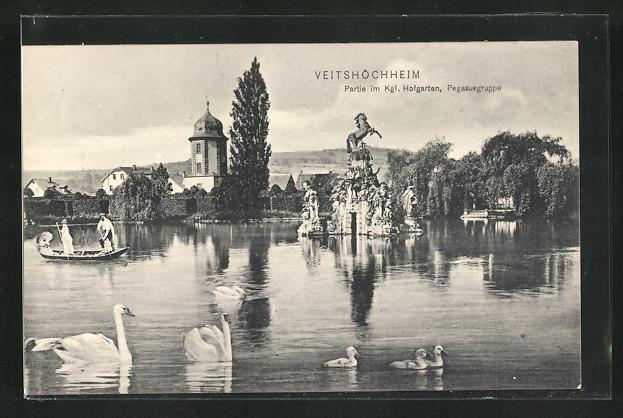AK Veitshöchheim, Partie im Kgl. Hofgarten, Pegasusgruppe 0