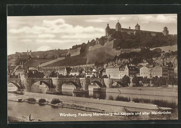 AK Würzburg, Festung Marienberg mit Käppele und alter Mainbrücke 0