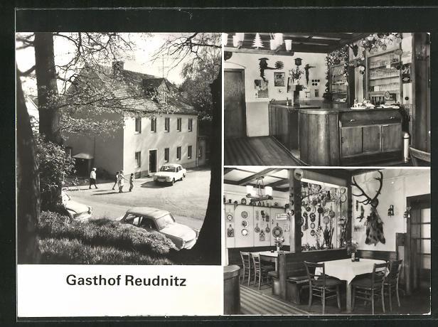 AK Sörnewitz-Reudnitz, Gasthof Reudnitz, Innenansichten Gastraum und Theke 0