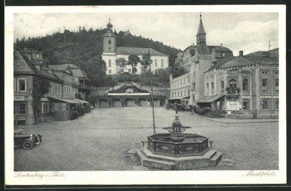 AK Leutenberg i. Thür., Marktplatz mit Brunnen 0