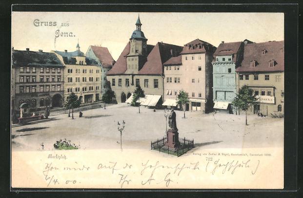 AK Jena, Marktplatz mit Denkmal 0