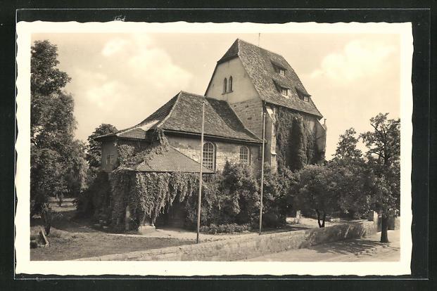 AK Jena, Schillers Trau-Kirche, Erbaut i. J. 1480 0