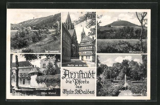 AK Arnstadt, Partie an der Kirche, Stiller Winkel, Wachsenburg 0