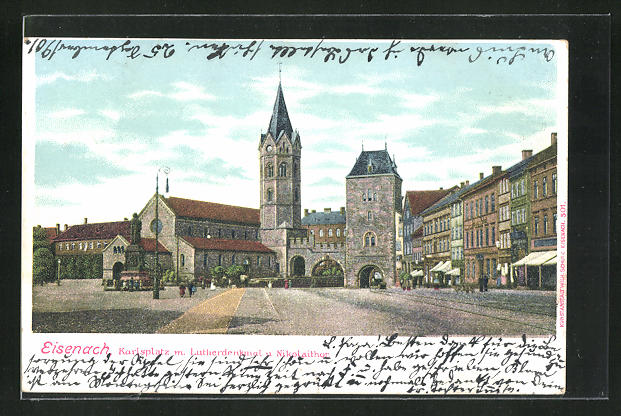 Lithographie Eisenach, Karlsplatz m. Lutherdenkmal u. Nikolaithor 0