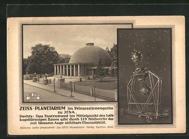 AK Jena, Zeiss-Planetarium im Prinzessinnengarten, das Instrument im Mittelpunkt des halbkugelförmigen Baues 0