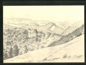 Künstler-AK Heidenau i. Sa., Bergblick auf das Schloss Bärenstein