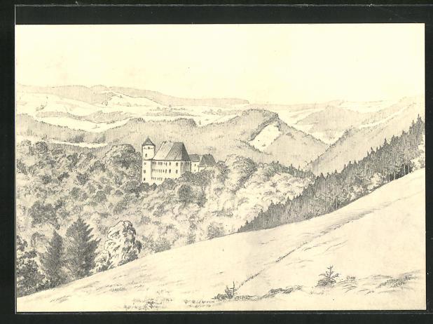 Künstler-AK Heidenau i. Sa., Bergblick auf das Schloss Bärenstein 0