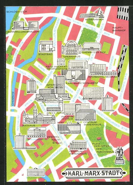 Künstler-AK Karl-Marx-Stadt, Strassenkarte 0