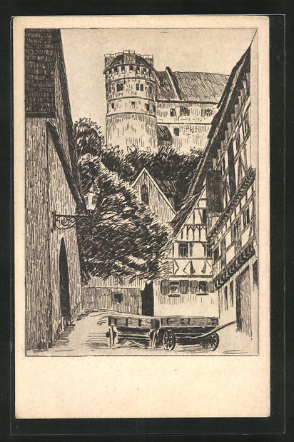 Künstler-AK Tübingen, Blick von der spitalkirche auf das Schloss mit Sternenwarte 0