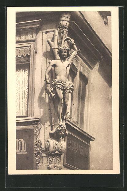 AK Würzburg, Häuserschmuck, Renaissancefigur St. Stephanus an der Ecke der Dom- und Blasiusgasse 0