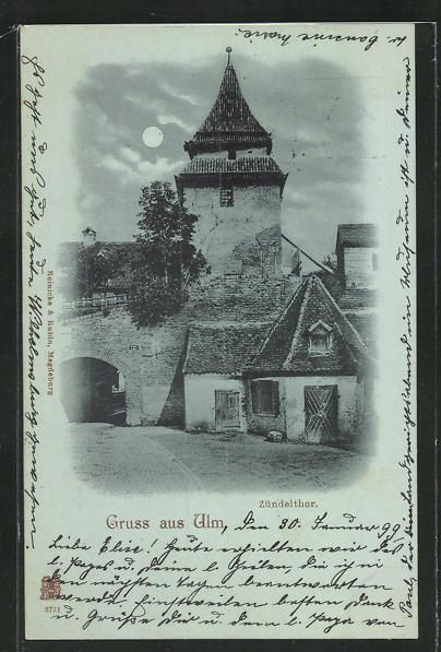 Mondschein-AK Ulm, Blick zum Zündelthor 0