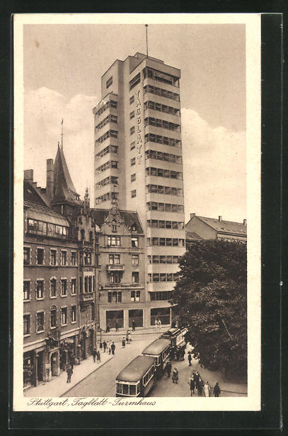 AK Stuttgart, Tagblatt-Turmhaus und Strassenbahn 0