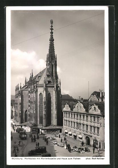 AK Würzburg, Marktplatz mit Marienkapelle und Haus zum Falken 0