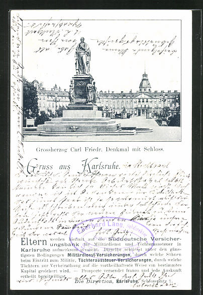 AK Karlsruhe, Grossherzog Carl Friedr. Denkmal mit Schloss 0