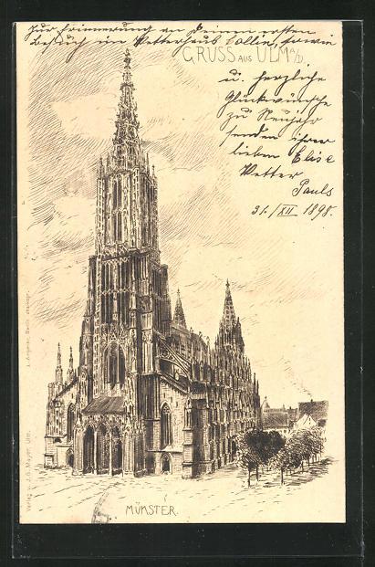 Künstler-AK Ulm a. D., Blick zum Münster 0