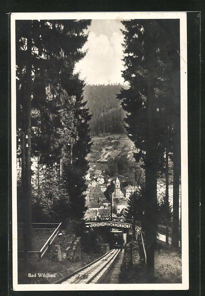AK Bad Wildbad, Panoramablick von der Bergbahn aus 0