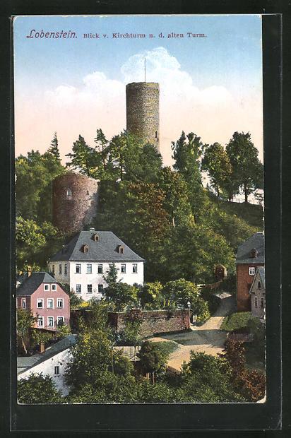 AK Lobenstein, Blick v. Kirchturm n.d. alten Turm 0