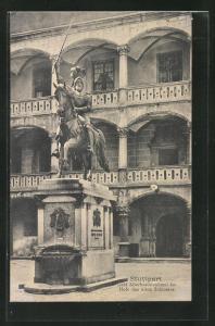 AK Stuttgart, Graf Eberharddenkmal im Hofe des alten Schlosses