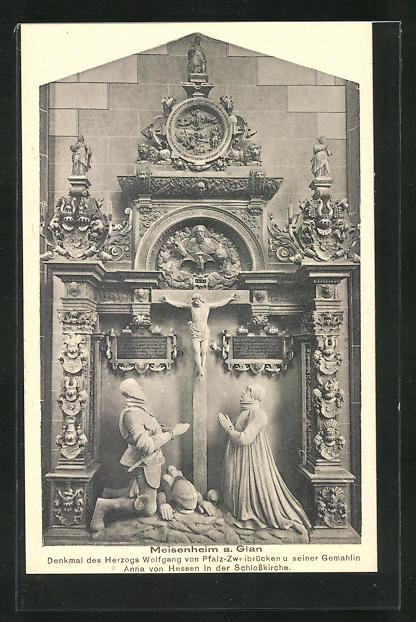 AK Meisenheim a. Glan, Denkmal des Herzogs Wolfgang von Pfalz-Zweibrücken 0