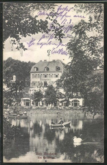AK Bad Nauheim, Gasthof Teichhaus mit Gondelfahrt 0