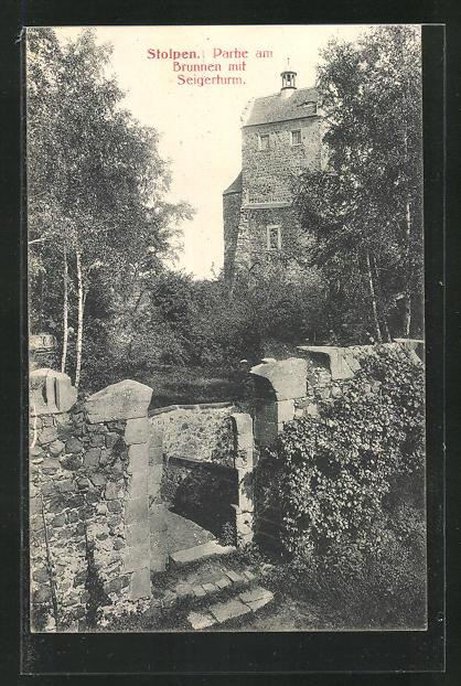 AK Stolpen, Brunnen mit Seigerturm 0