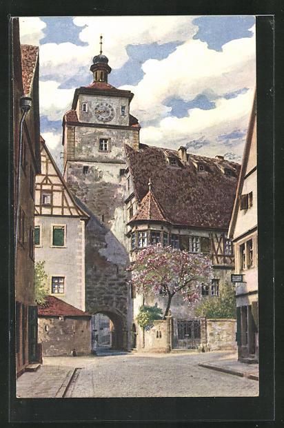 AK Rothenburg o. T., Strassenpartie am Weissen Turm 0