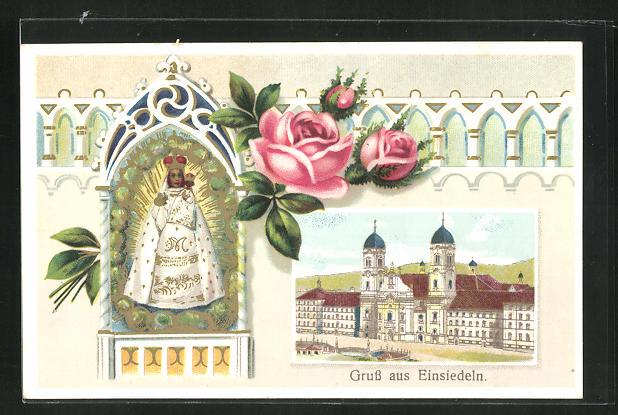 Präge-AK Einsiedeln, Kloster und Gnadenbild 0